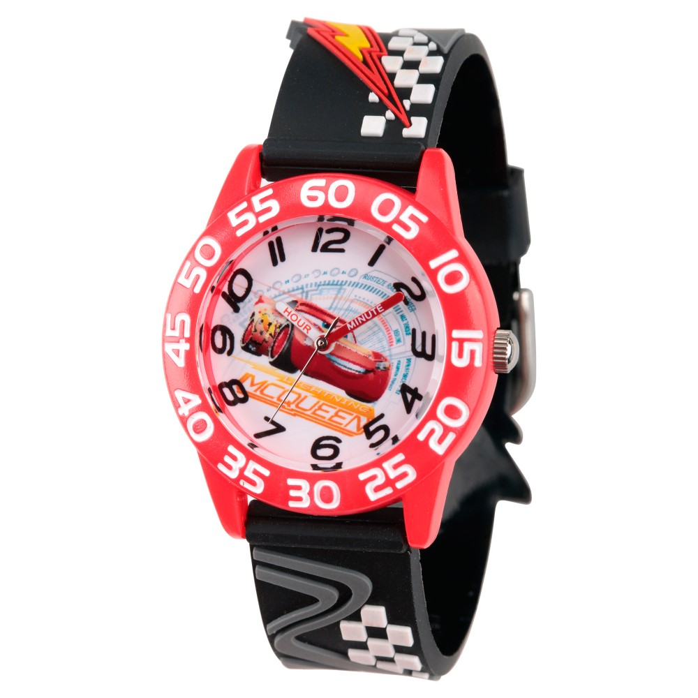 Image of Boys' Disney Cars 3 Lightning McQueen Red Plastic Time Teacher Watch - Black, Boy's