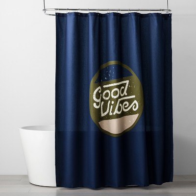 Letters Shower Curtain Navy Blue - Room Essentials™