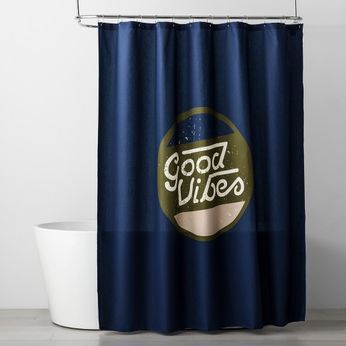 Letters Shower Curtain Navy Blue