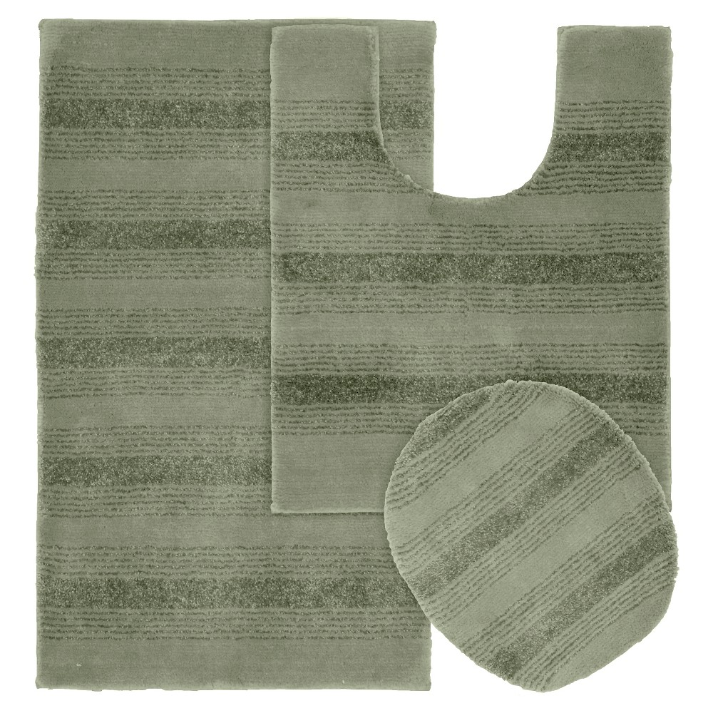 Garland 3 piece Essence Washable Nylon Bath Rug Set - Deep Fern