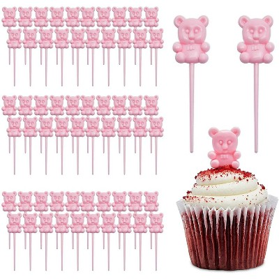 Sparkle and Bash 100-Pack Pink Teddy Bear Cupcake Toppers Picks for Baby Shower Decorations Party Supplies