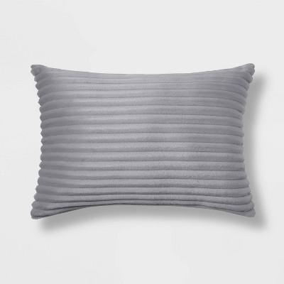 Oblong Cut Plush Throw Pillow Gray - Room Essentials™
