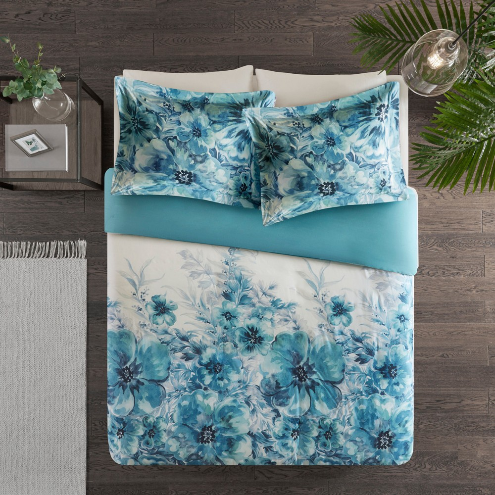 3pc Full/Queen Slade Cotton Printed Duvet Cover Set Teal (Blue)