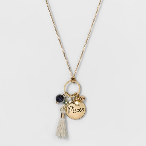 Women's Fashion Zodiac Pisces Charm Necklace - Gold - image 1 of 3