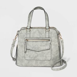 VR NYC Flap Pocket Satchel Handbag - Light Gray