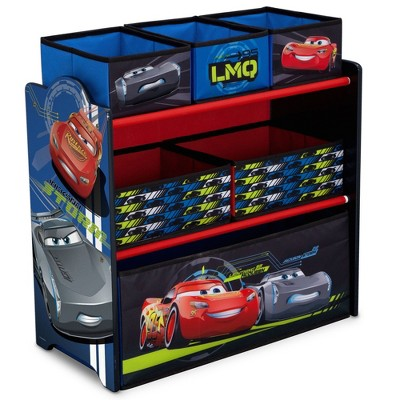 Delta Children Disney Pixar Cars Spacious 3 Level Shelving Easy to Assemble Toy Storage Organizer with 6 Different Sized Storage Bins