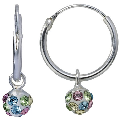 Sterling Silver Crystal Ball Hoop Earring - Pink/Green - image 1 of 1