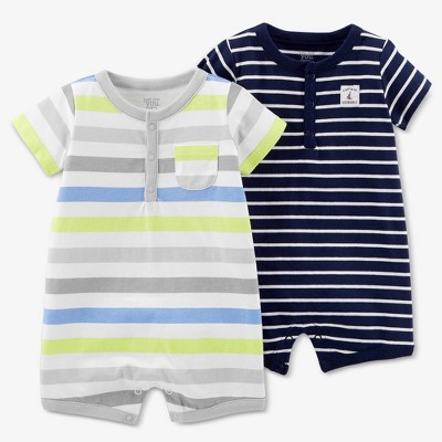 Baby Boys' 2pk Stripe Romper Set - Just One You® made by carter's Blue 3M