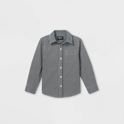 OshKosh B'gosh Toddler Boys' Gingham Woven Long Sleeve Button-Down Shirt - Navy