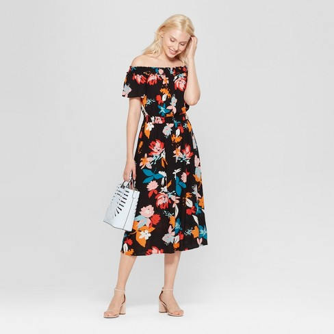 2e77d982edf5 Women s Floral Print Off The Shoulder Midi Dress - A New Day™   Target