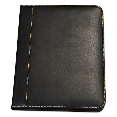 Samsill Contrast Stitch Leather Padfolio 8 1/2 x 11 Leather Black 71710