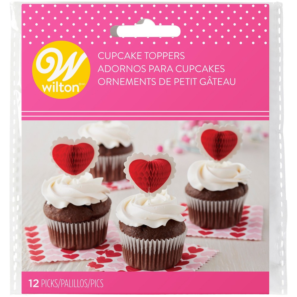 Wilton 12ct Valentine's Day Heart Cupcake Toppers, Red