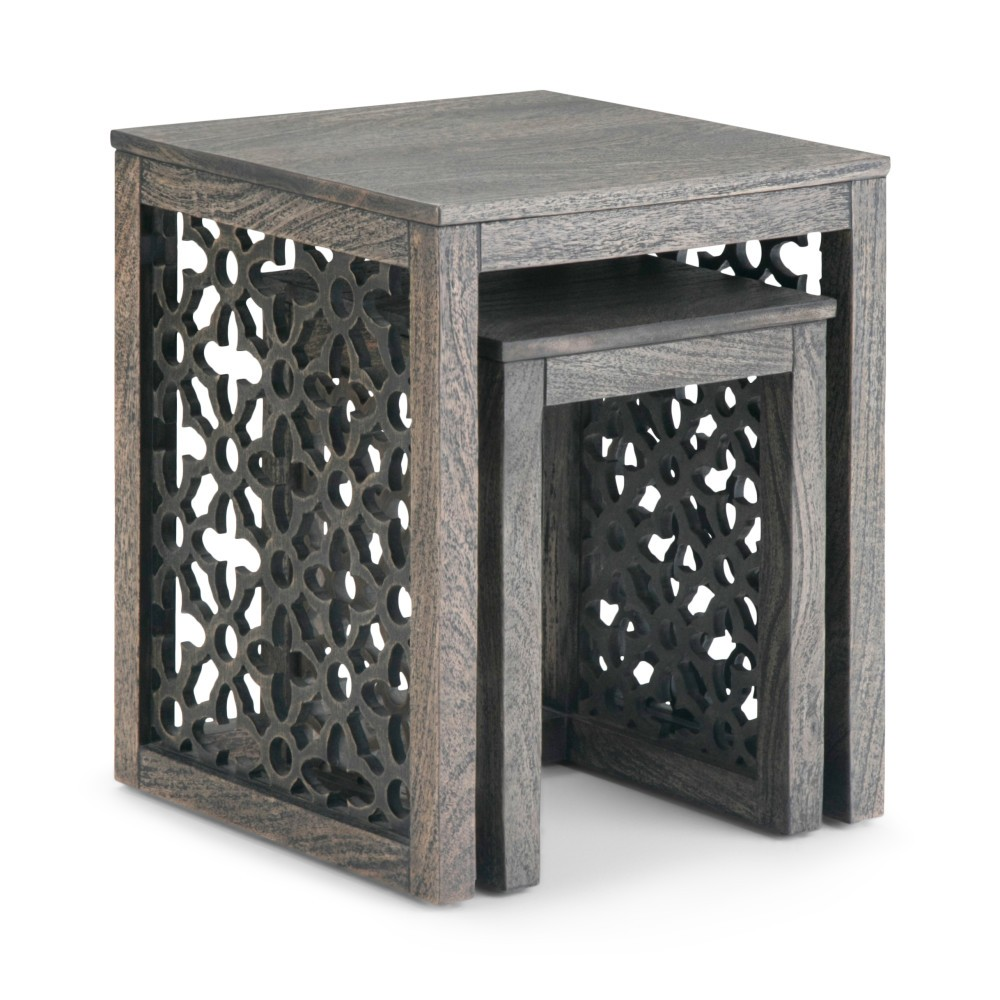 "Image of ""2pc 17"""" Caleb Nesting Table Barnwood Brown - Wyndenhall"""
