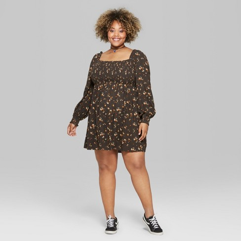 Womens Plus Size Smock Off The Shoulder Dress Wild Fable Olive