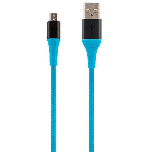 Monoprice USB 2.0 Micro B to Type A Charge and Sync Cable - 1.5 Feet - Blue, Durable,  Kevlar-Reinforced Nylon-Braid - AtlasFlex Series - image 1 of 4