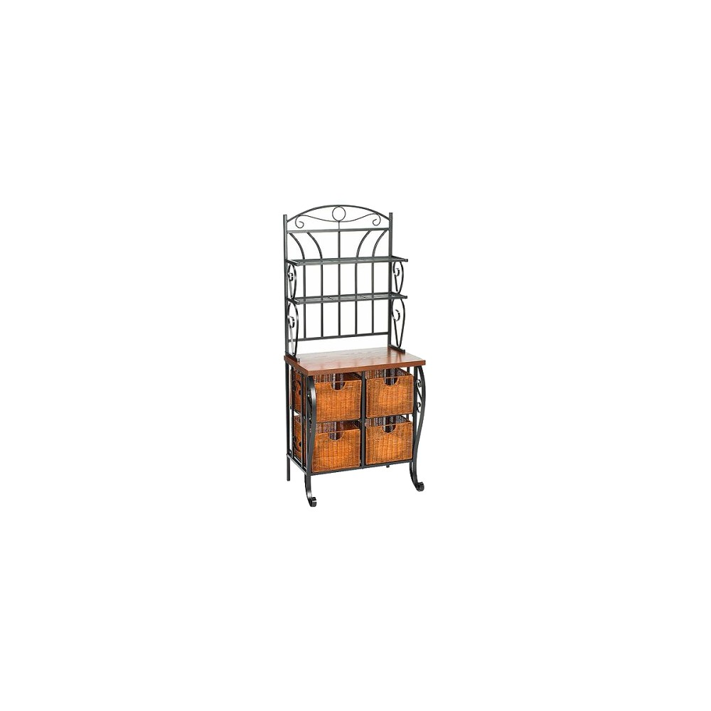 Image of Baker's Rack with Wicker Storage - Iron/Black - Aiden Lane