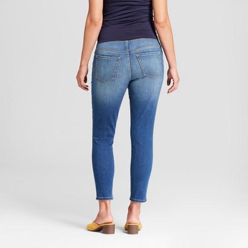 608885f2002c8 Maternity Crossover Panel Skinny Crop Jeans - Isabel Maternity By Ingrid &  Isabel™ Medium Wash : Target
