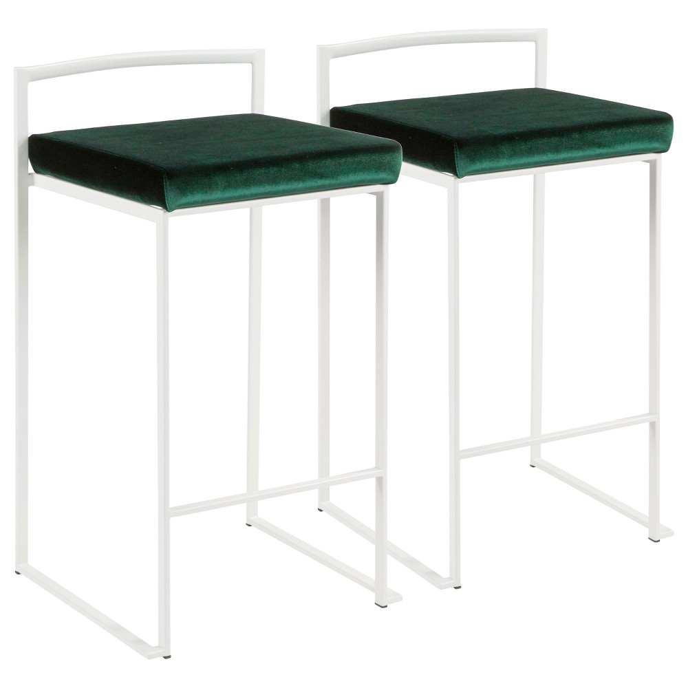Fuji 26 In Contemporary Stackable Counter Stool White with Green Velvet Cushion (Set of 2) - Lumisource