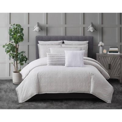 Charisma Bedford 3 Piece Duvet Cover Set - White/Gray