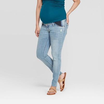 Side Panel Raw Hem Skinny Maternity Jeans - Isabel Maternity by Ingrid & Isabel™ Light Wash