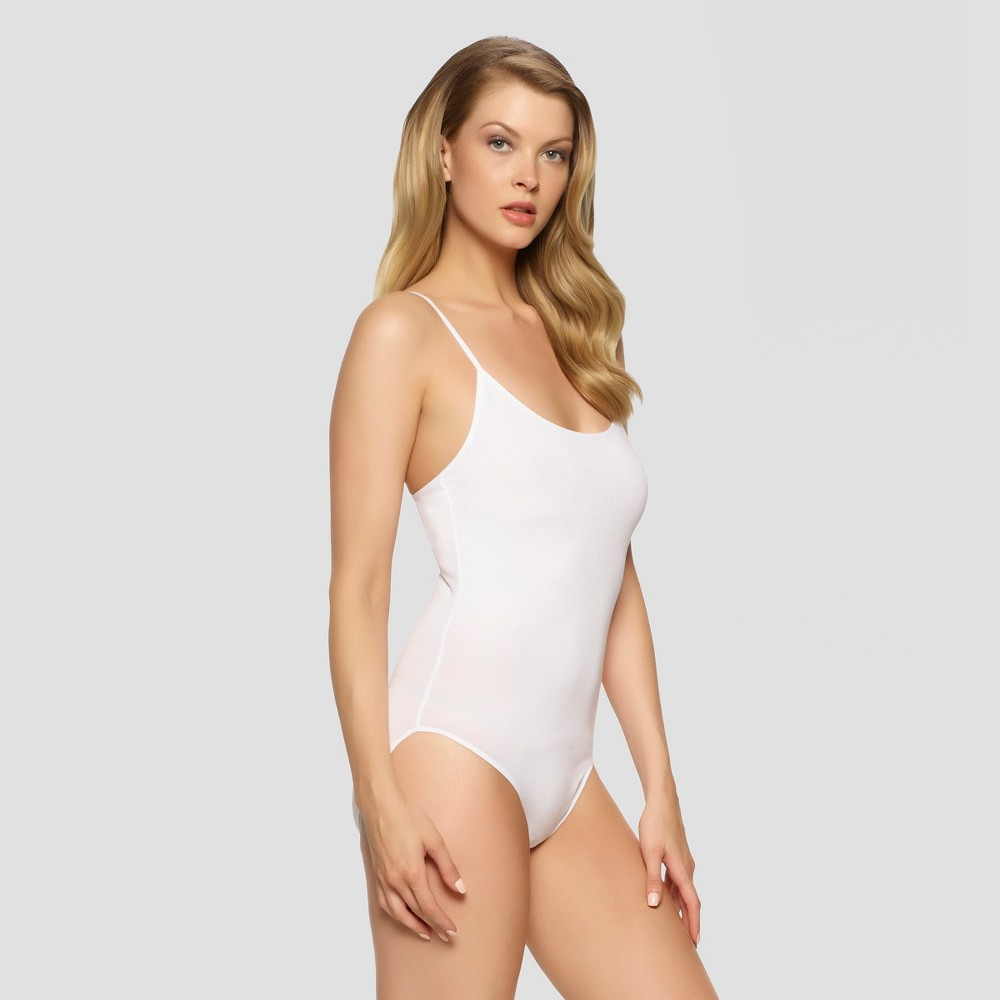 Image of Jezebel Women's Spaghetti Strap Bodysuit - White L, Size: Small