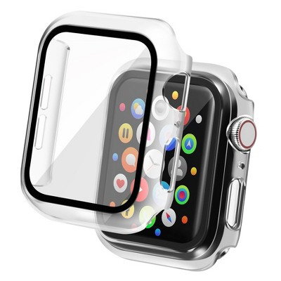 Insten Case Compatible with Apple Watch 44mm Series SE 6 5 4, Matte Hard Cover, Built in Tempered Glass Screen Protector, Full Protection, Clear