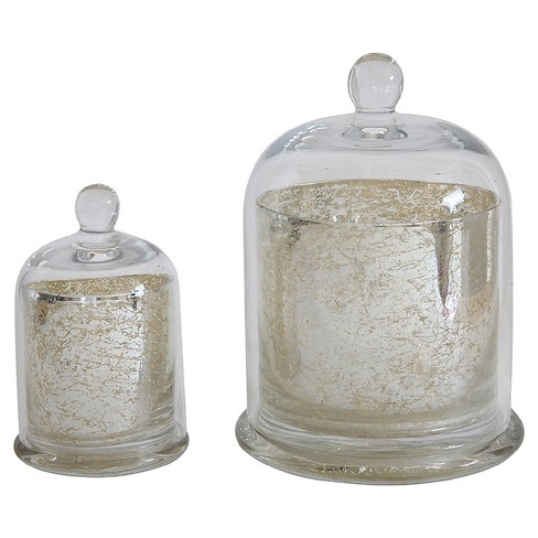 "Mercury Glass Candle Holder with Cloche Antique Silver 7"" - 3R Studios® - image 1 of 1"