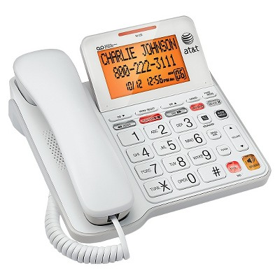 AT&T CL4940 Corded Phone System with Answering Machine, Big Buttons and Large Tilt Display - White