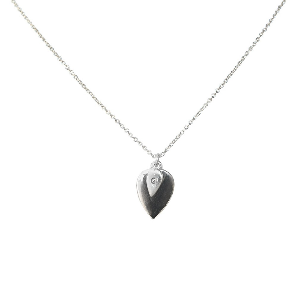 Zirconite Pendant Charm Necklace with Crystal Accent Silver - 16, Women's
