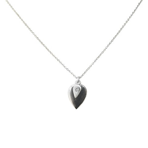 "Zirconite Pendant Charm Necklace with Crystal Accent Silver - 16"" - image 1 of 1"