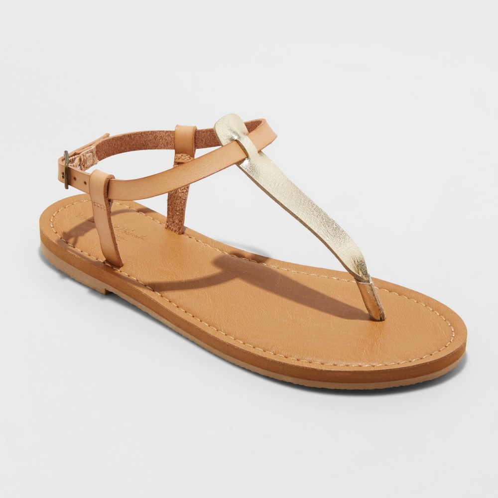 Women's Hartley T Strap Thong Sandals - Universal Thread Natural 9
