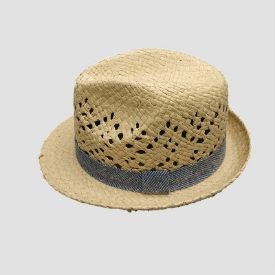 Baby Boys' Straw with Chambray Fedora Hat - Cat & Jack™ Beige 12-24M