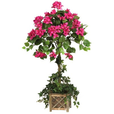"34"" x 22"" Artificial Bougainvillea Topiary with Pink Flowers in Wood Box - Nearly Natural"