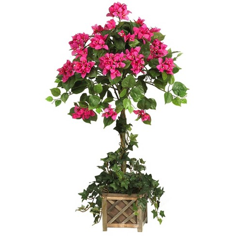 """34"""" x 22"""" Artificial Bougainvillea Topiary with Pink Flowers in Wood Box - Nearly Natural - image 1 of 1"""