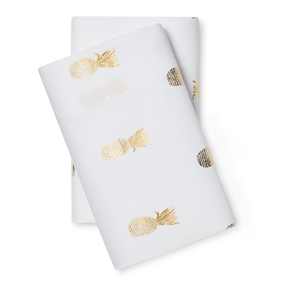 Microfiber Pillowcase (King)Gold Foil Pineapple - Room Essentials™