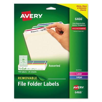 Avery Removable 1/3-Cut File Folder Labels Inkjet/Laser .66 x 3.44 WE/ASST 750/PK 6466