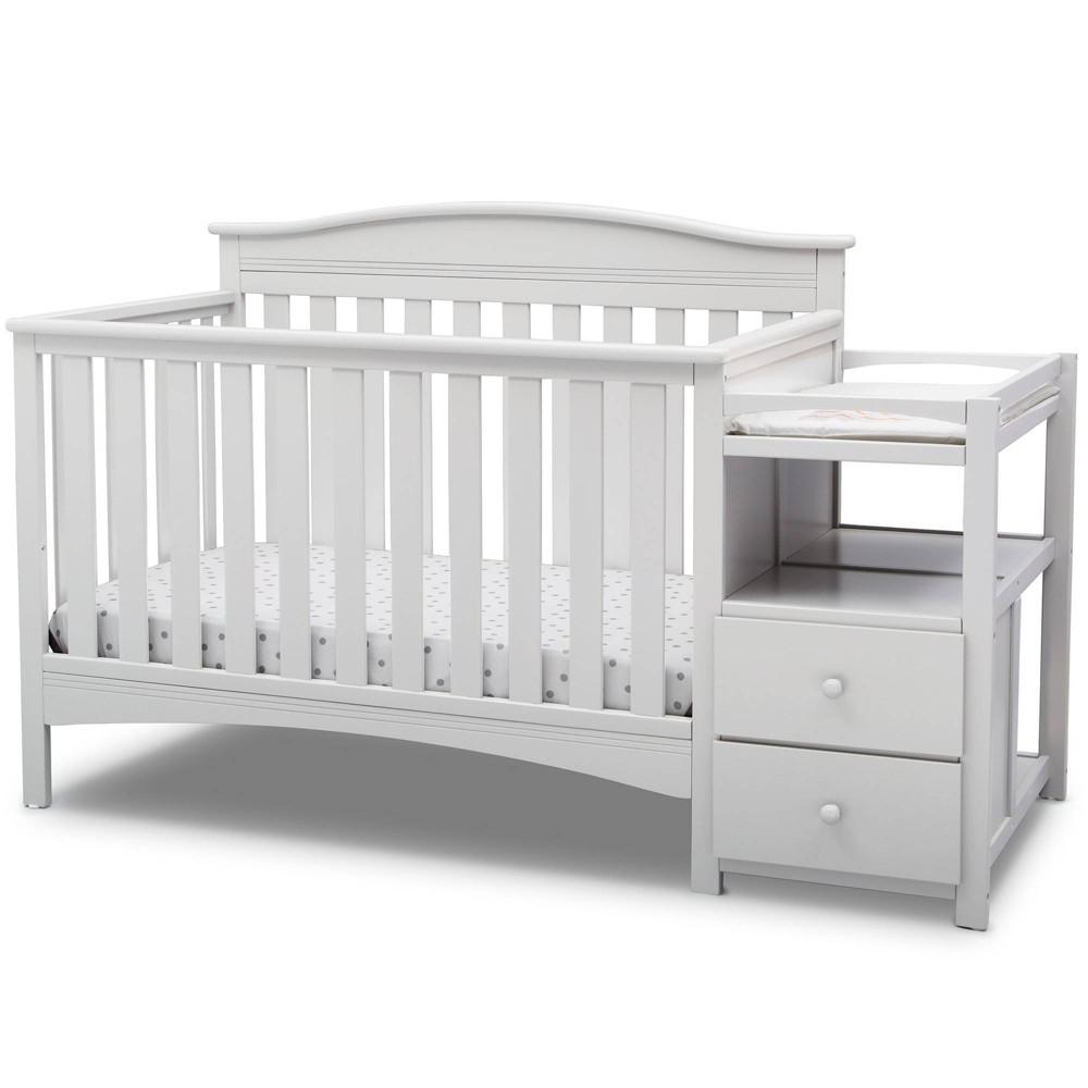 Image of Delta Children Birkley Convertible 4-in-1 Crib and Changer - Bianca White
