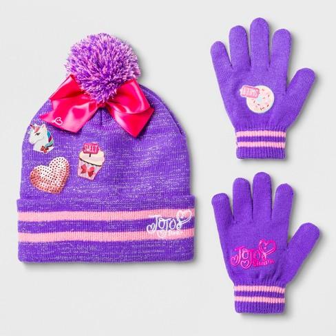 3378f6ef47f0a Girls  JoJo Siwa Cuffed Pom Beanie   Glove Set - Purple One Size ...