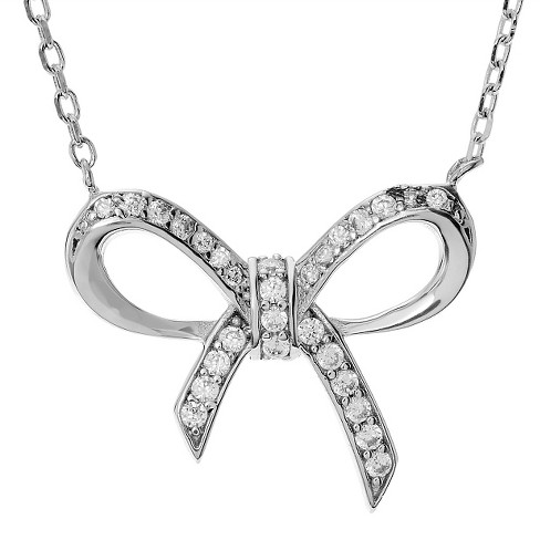 "1/3 CT.T.W. Round-cut CZ Pave set Accent Bow Pendant Necklace in Sterling Silver - Silver (18"") - image 1 of 2"