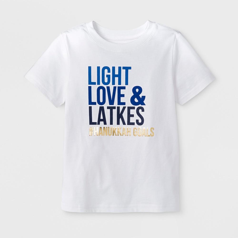 Toddler Short Sleeve Hanukkah 'Light, Love & Latkes' Baseball T-Shirt - Cat & Jack White 3T, Toddler Unisex