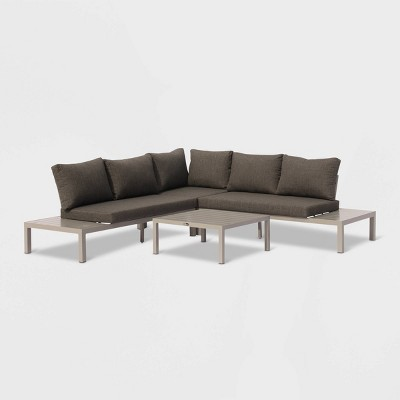 Osborne 4pc Aluminum Outdoor Sectional with Cushions - Silver/Gray - Courtyard Casual
