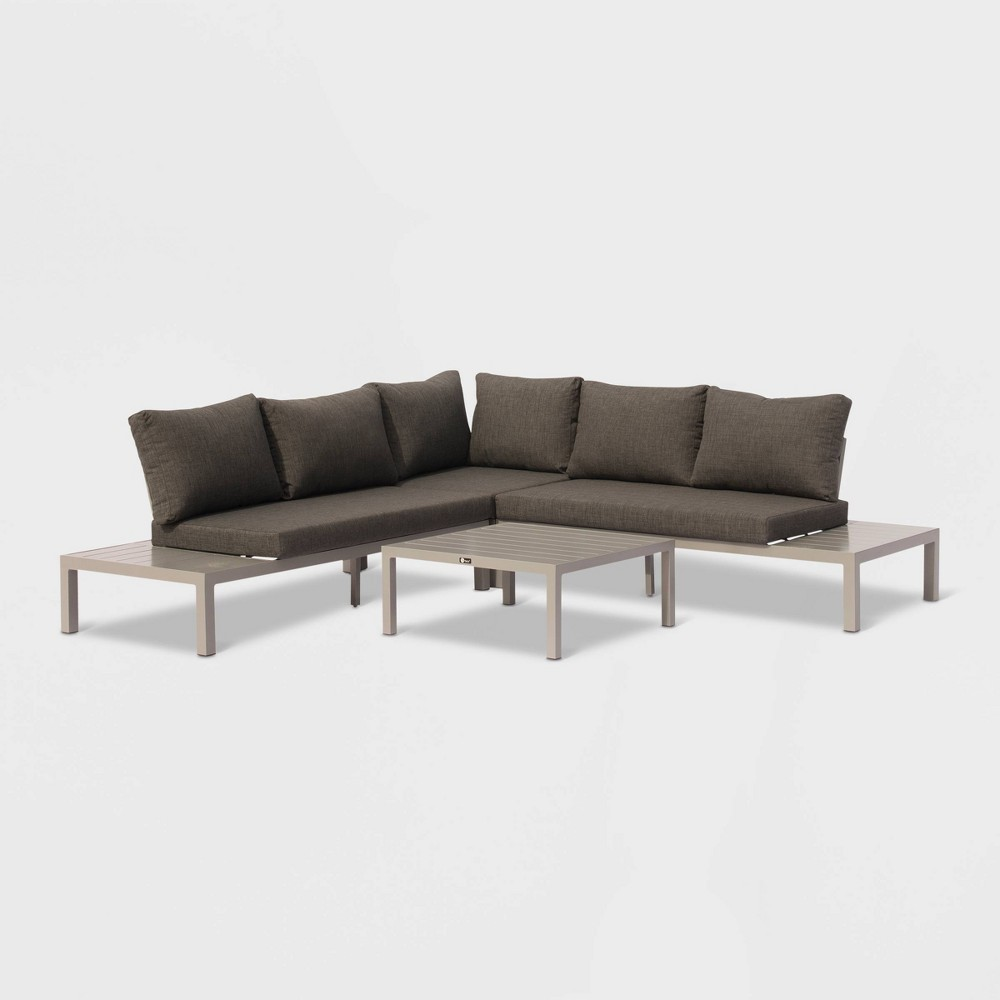 Image of Osborne 4pc Aluminum Outdoor Sectional with Cushions - Silver/Gray - Courtyard Casual