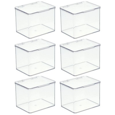 mDesign Stackable Plastic Office Storage Organizer Box with Lid, 6 Pack