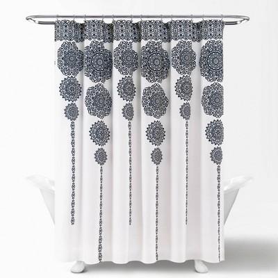 Stripe Medallion Shower Curtain Navy - Lush Décor