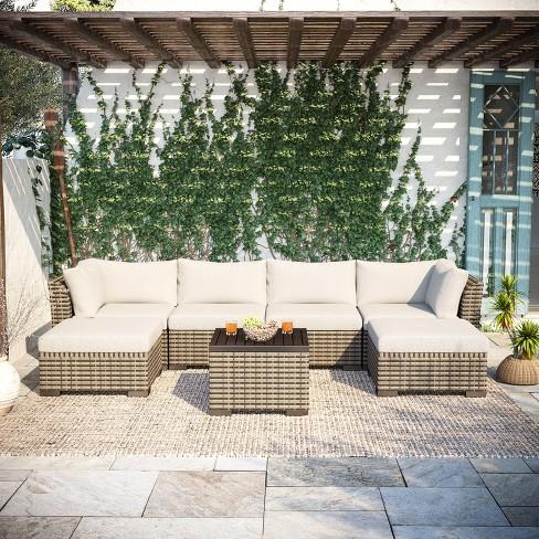 7pc Wicker Rattan Patio Set - Beige - Accent Furniture - image 1 of 4