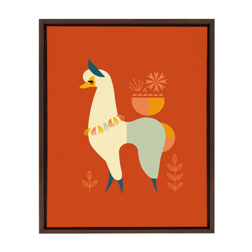 18 34 X 24 34 Sylvie Mid Century Llama Framed Canvas Wall Art By Amber Leaders Brown Kate And Laurel
