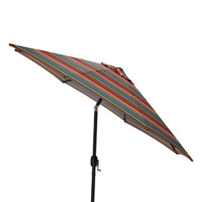 9' Outdoor/Indoor Patio Market Umbrella Westport Teal Brown - Pillow Perfect