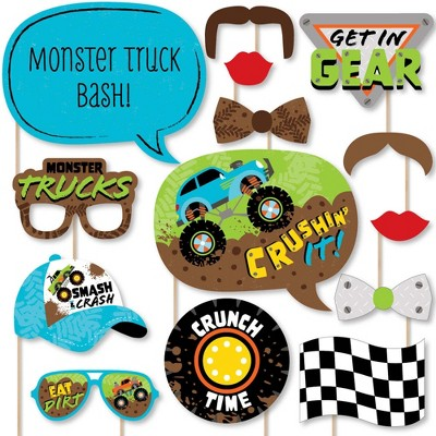 Big Dot of Happiness Smash and Crash - Monster Truck - Boy Birthday Party Photo Booth Props Kit - 20 Count