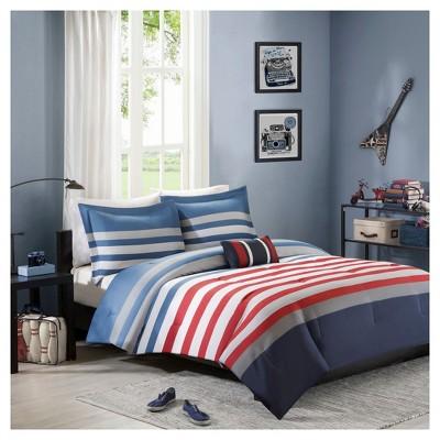 Justin Striped Comforter Set - Red&Blue