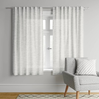 "95""x54"" Striation Herringbone Light Filtering Window Curtain Panel White/Gray - Project 62™"